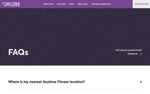 Screenshot of FAQ Page anytimefitness.co.nz - Frequently Asked Questions   Anytime Fitness - captured Nov. 12, 2018