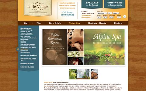 Screenshot of Products Page iciclevillage.com - Day Spa Products | Leavenworth Therapeutic Touch Day Spa | Icicle Village Resort - captured Sept. 19, 2014