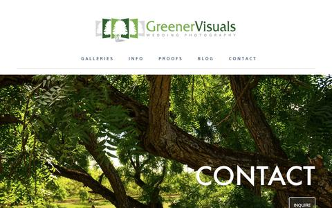 Screenshot of Contact Page greenervisuals.com - Contact Greener Visuals Wedding Photography in Montana - captured Feb. 2, 2016