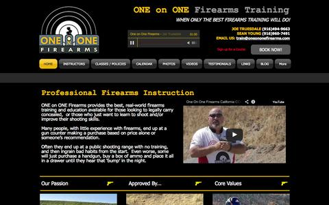 Screenshot of Home Page oneononefirearms.com - ONE On ONE Firearms - Northern California's Best Firearms Training - captured Oct. 9, 2014