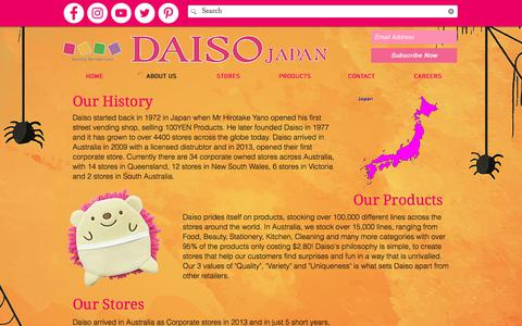 Screenshot of About Page mydaiso.com.au - Daiso | Australia | About Us - captured Sept. 25, 2018