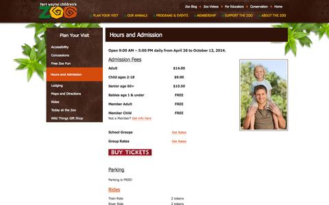 Screenshot of Hours Page kidszoo.org - Hours and Admission  ::  Fort Wayne Children's Zoo - captured Sept. 19, 2014