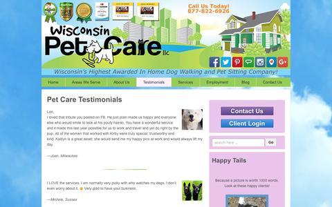 Screenshot of Testimonials Page wisconsinpetcare.com - Wisconsin Pet Care Testimonials | Award-Winning Pet Sitting - captured Jan. 11, 2016
