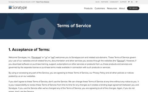 Screenshot of Terms Page sonatype.com - Terms of Service – Sonatype - captured Jan. 22, 2018