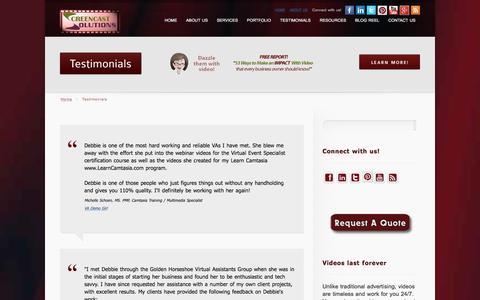 Screenshot of Testimonials Page screencastsolutions.ca - Testimonials | Screencast Solutions - captured July 13, 2016