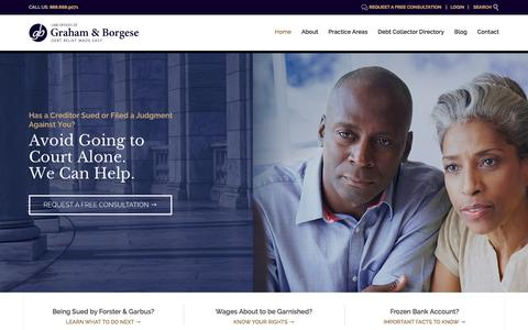 Screenshot of Home Page grahamborgese.com - Debt Collection Defense Attorneys   Buffalo, Rochester, Syracuse, New York - captured Sept. 9, 2017