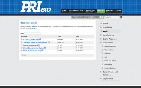 Screenshot of Press Page pri-bio.com - Document Center - PRI Bio Effluent decontamination tissue digester systems - captured Dec. 6, 2015