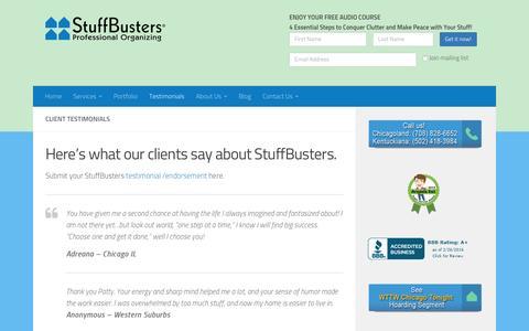 Screenshot of Testimonials Page stuffbusters.com - Testimonials - StuffBusters - captured Feb. 26, 2016