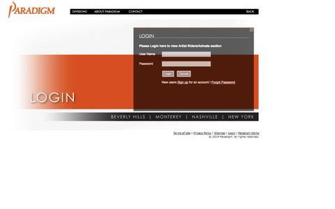 Screenshot of Login Page paradigm.net - Paradigm Talent Agency - captured Oct. 1, 2014