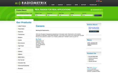 Screenshot of Jobs Page radiometrix.com - Radiometrix - Radio Modules - RF Modules - Wireless Modules | Careers - captured Oct. 7, 2014