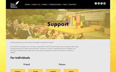 Screenshot of Support Page bardinthebotanics.co.uk - Support — Bard in the Botanics - captured Aug. 5, 2017
