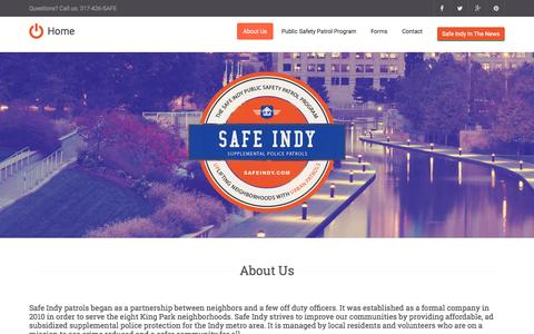 Screenshot of About Page safeindy.com - Safe Indy - captured Feb. 2, 2016