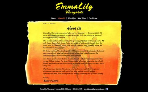 Screenshot of About Page emmalilyvineyards.com - EmmaLily Vineyards | About Us - captured Oct. 2, 2014