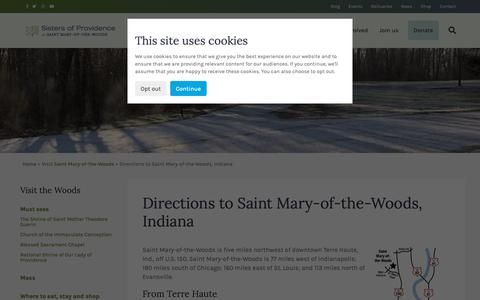 Screenshot of Maps & Directions Page spsmw.org - Directions to Saint Mary-of-the-Woods, Indiana - Sisters of Providence of Saint Mary-of-the-Woods - captured Oct. 18, 2018
