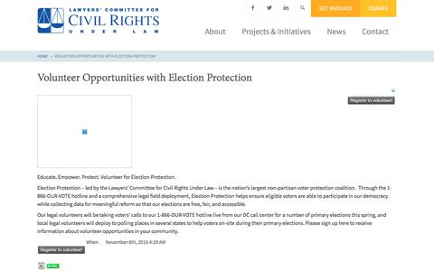 Screenshot of Signup Page lawyerscommittee.org - Volunteer Opportunities with Election Protection - Lawyers' Committee for Civil Rights Under Law - captured Feb. 18, 2018