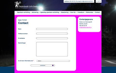 Screenshot of Contact Page nederlandslicht.nl - Contact | Nederlands Licht Instituut - Openbare Verlichting - captured Oct. 4, 2014