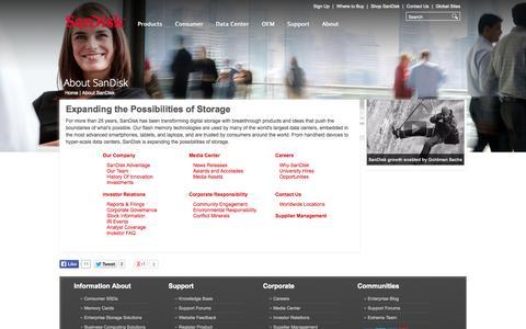 Screenshot of About Page sandisk.com - About SanDisk Corporation - captured Sept. 16, 2014
