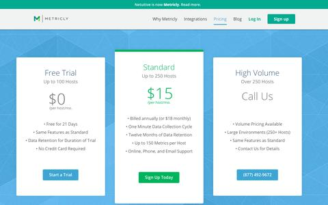Screenshot of Pricing Page metricly.com - Pricing - Metricly - Full Stack Performance Monitoring - captured July 21, 2017