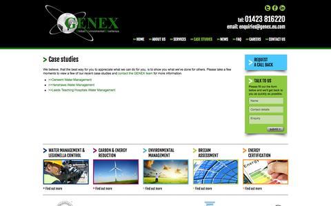Screenshot of Case Studies Page genex.eu.com - Environmental Consultancy | Case Studies | Genex - captured Oct. 2, 2014