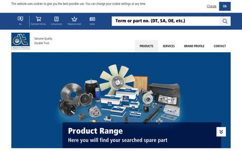 Screenshot of Products Page dt-spareparts.com - Product Range - DT Spare Parts - captured Oct. 22, 2018