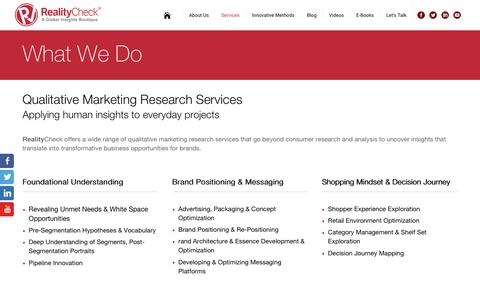 Screenshot of Services Page realitycheckinc.com - Qualitative Consumer Marketing Research Services - captured Oct. 26, 2017