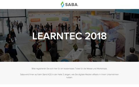 Screenshot of Landing Page saba.com - LEARNTEC 2018 - captured April 9, 2018