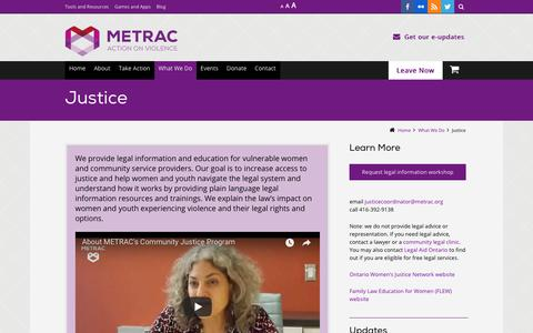 Screenshot of Terms Page metrac.org - Justice - captured Dec. 8, 2018