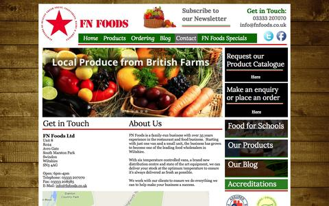 Screenshot of About Page Contact Page fnfoods.co.uk - Contact - FN Foods - captured Oct. 23, 2014
