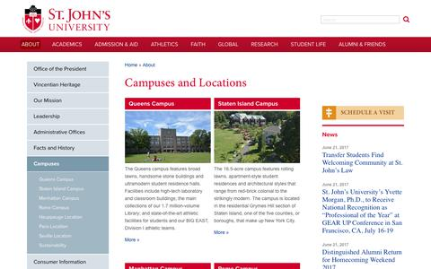 Screenshot of Locations Page stjohns.edu - Campuses and Locations | St. John's University - captured June 24, 2017