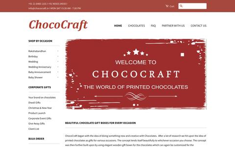 Screenshot of Home Page chococraft.in - Chocolate - Customised chocolate for Corporate gifts, Diwali gifts – CHOCOCRAFT - captured July 20, 2015