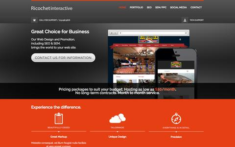 Screenshot of Home Page ricochetinteractive.com - Ricochet Interactive LLC | Web site consulting and promotion, and we treat you as a valued customer - captured Jan. 27, 2015