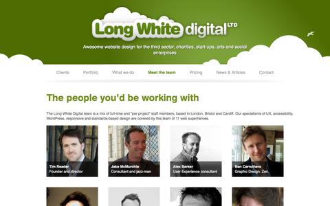 Screenshot of Team Page longwhitedigital.co.uk - Meet the team | Long White Digital Ltd - captured Oct. 3, 2014