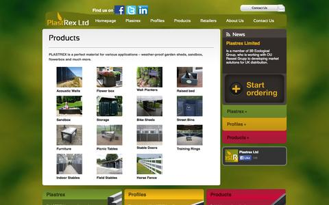 Screenshot of Products Page plastrex.co.uk - PlastRex Limited - captured Oct. 2, 2014