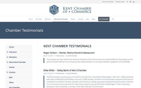Screenshot of Testimonials Page kentchamber.com - Kent Chamber of Commerce |   Chamber Testimonials - captured Nov. 27, 2016