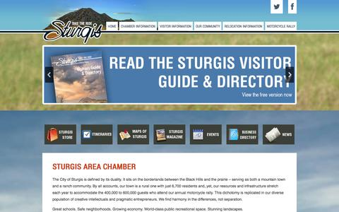Screenshot of Home Page sturgisareachamber.com - Sturgis Area Chamber of Commerce - captured Oct. 9, 2014