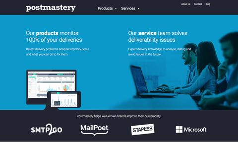 Screenshot of Home Page postmastery.com - Home 2018 - Postmastery - captured July 20, 2018