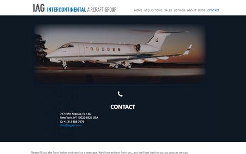 Screenshot of Contact Page iagjets.com - Contact Intercontinental Aircraft Group | IAG - captured Oct. 6, 2014