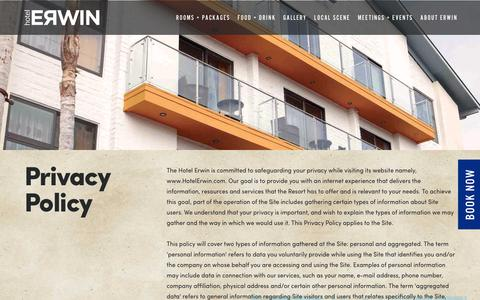 Screenshot of Privacy Page hotelerwin.com - Privacy Policy - Venice Beach CA Hotel Erwin - captured Aug. 25, 2017