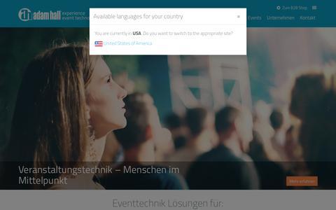 Screenshot of Support Page adamhall.com - Eventtechnik Lösungen | Adam Hall Group - captured Nov. 20, 2016