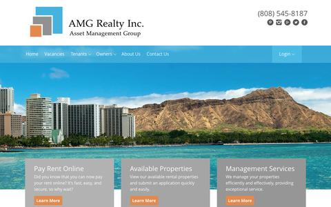 Screenshot of Home Page amghawaii.com - Discover the Perfect Oahu Rentals With AMG - captured Feb. 4, 2016