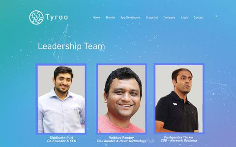 Screenshot of Team Page tyroo.com - vid.ai   Team - captured Sept. 23, 2018