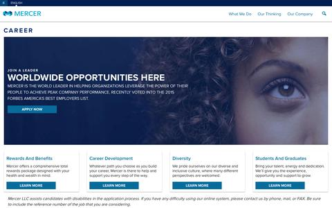 Screenshot of Jobs Page mercer.ie - Careers - Mercer Global - captured May 26, 2016