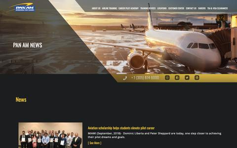 Screenshot of Press Page panamacademy.com - news | Pan Am International | Flight Academy Type Ratings, Boeing 737, A320, Flight Attendant, Dispatcher, ATP-CTP Training - captured Sept. 26, 2018