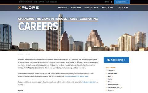 Screenshot of Jobs Page xploretech.com - Careers | Xplore Technologies - captured Nov. 30, 2016