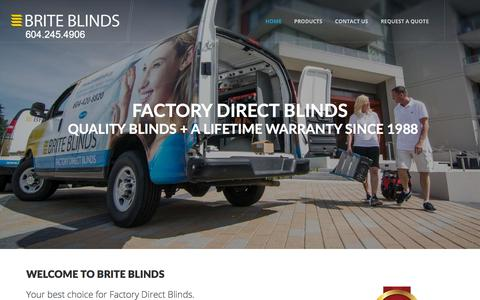 Screenshot of Home Page Products Page briteblinds.ca - Factory Direct Window Coverings & Shades | Burnaby - captured Aug. 4, 2018