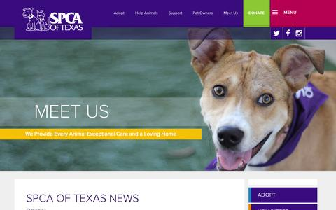 Screenshot of Press Page spca.org - SPCA of Texas - captured Oct. 3, 2014