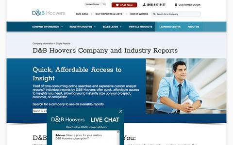 Company Reports | Industry Reports |Hoover's Company Information