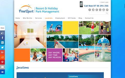 Screenshot of Locations Page freespiritresorts.com.au - Locations - FreeSpirit Resorts - captured Oct. 11, 2018