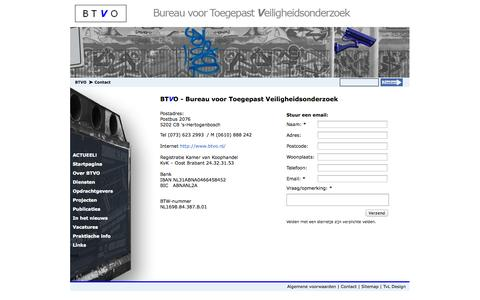 Screenshot of Contact Page btvo.nl - BTVO - Bureau voor Toegepast Veiligheidsonderzoek | Contact - captured Oct. 5, 2014