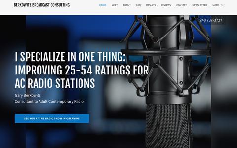 Screenshot of Home Page garyberk.com - Radio Consultant - Berkowitz Broadcast Consulting - captured Sept. 27, 2018